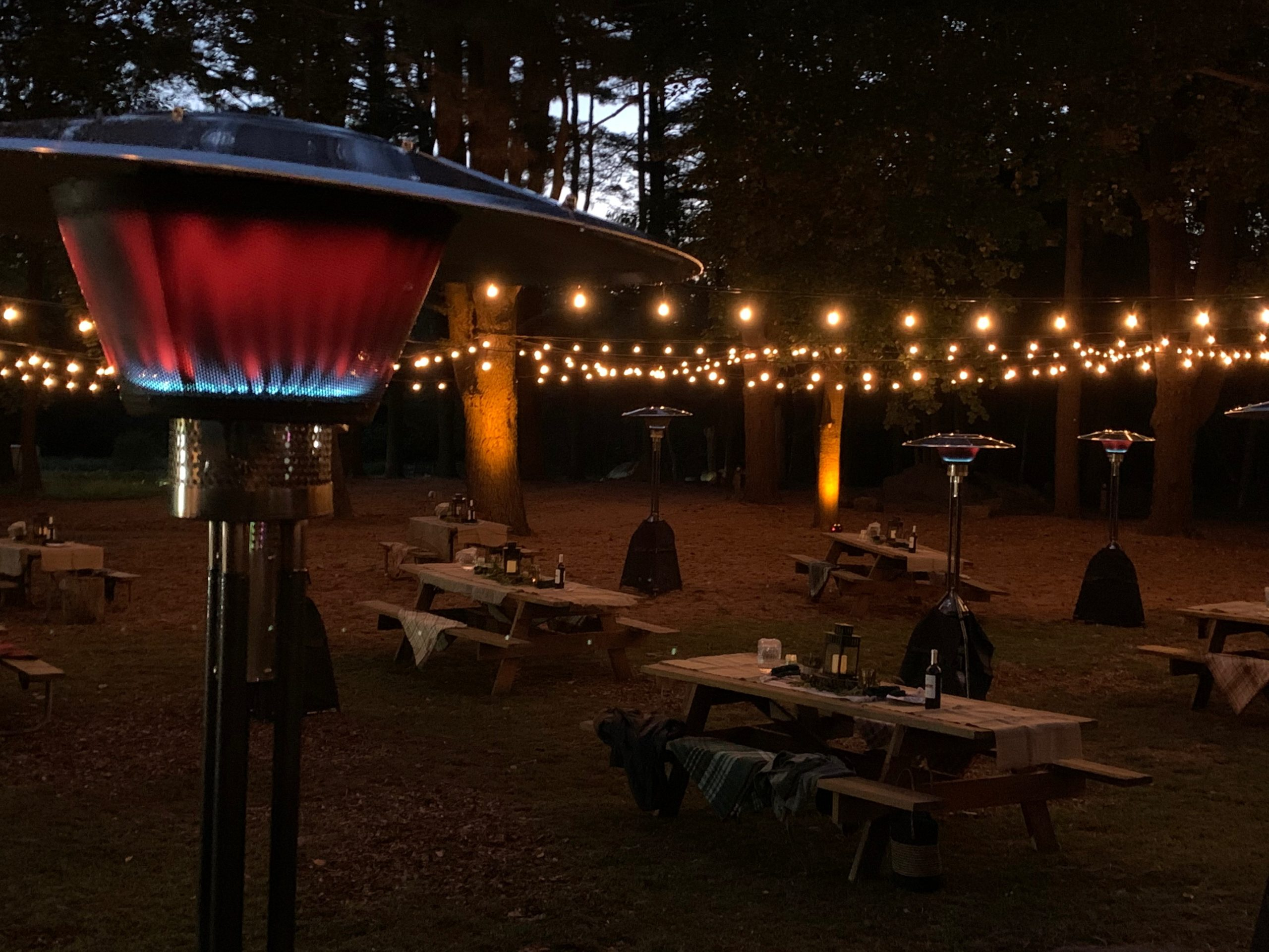 Outdoor Setup with Lights and Heaters