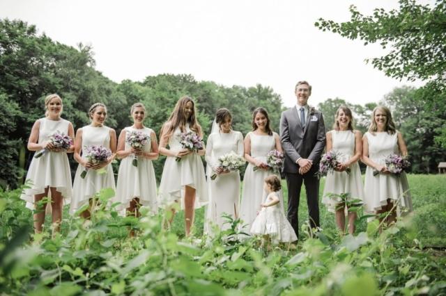 Bride, Groom, and Bridesmaids